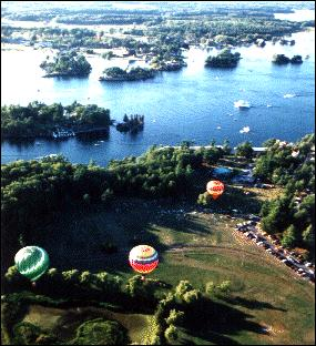 hot air ballons over water